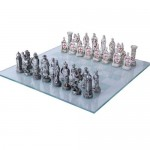 Crusader vs Muslim Chess Set with Glass Board at Majestic Dragonfly, Home Decor, Artwork, Unique Decorations