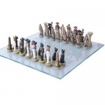 Romans vs Egyptians Chess Set with Glass Board at Majestic Dragonfly, Home Decor, Artwork, Unique Decorations