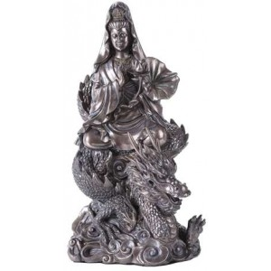 Kuan Yin on Dragon Bronze Resin 11 Inch Statue Majestic Dragonfly Home Decor, Artwork, Unique Decorations