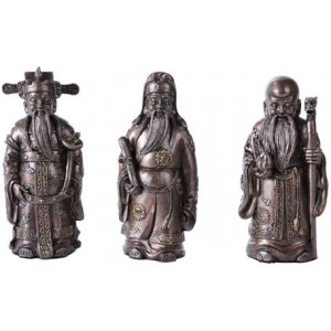 Fu Lo Shou Wise Men Set of 3 Statues Majestic Dragonfly Home Decor, Artwork, Unique Decorations