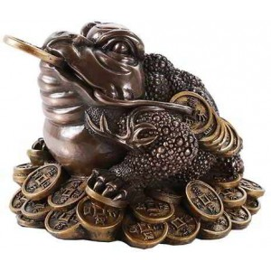 Lucky Frog Auspicious Feng Shui Money Statue Majestic Dragonfly Home Decor, Artwork, Unique Decorations