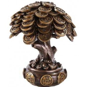 Money Tree Auspicious Feng Shui Statue Majestic Dragonfly Home Decor, Artwork, Unique Decorations