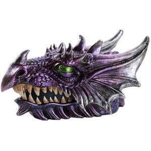 Purple Dragon Head Box Majestic Dragonfly Home Decor, Artwork, Unique Decorations
