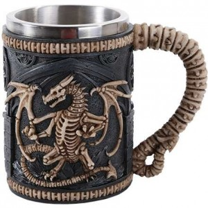 Skeleton Dragon Drinking Tankard Majestic Dragonfly Home Decor, Artwork, Unique Decorations