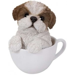 Shih Tzu Teacup Pups Dog Statue Majestic Dragonfly Home Decor, Artwork, Unique Decorations