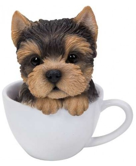 Yorkie Teacup Pups Dog Statue at Majestic Dragonfly, Home Decor, Artwork, Unique Decorations