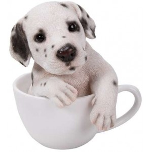 Dalmation Teacup Pups Dog Statue Majestic Dragonfly Home Decor, Artwork, Unique Decorations