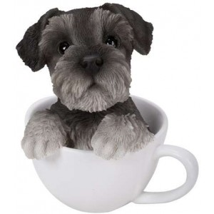 Schnauzer Teacup Pups Dog Statue Majestic Dragonfly Home Decor, Artwork, Unique Decorations