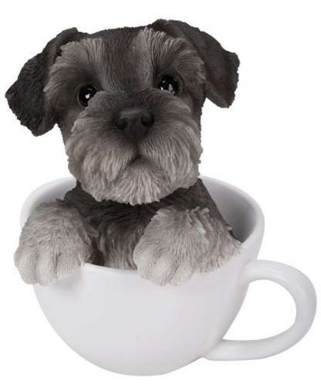 Schnauzer Teacup Pups Dog Statue at Majestic Dragonfly, Home Decor, Artwork, Unique Decorations