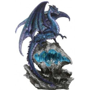 Checkmate Blue Dragon Statue Majestic Dragonfly Home Decor, Artwork, Unique Decorations
