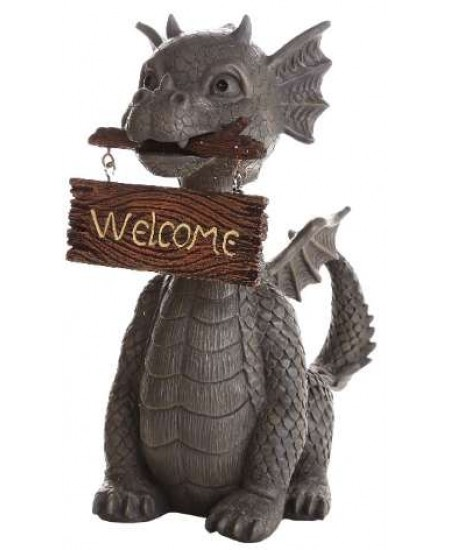 Welcoming Garden Dragon Statue at Majestic Dragonfly, Home Decor, Artwork, Unique Decorations