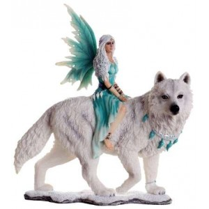 Aneira Fairy and White Wolf Companion Statue Majestic Dragonfly Home Decor, Artwork, Unique Decorations