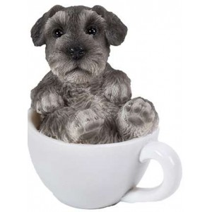 Schnauzer Mini Teacup Pups Dog Statue Majestic Dragonfly Home Decor, Artwork, Unique Decorations