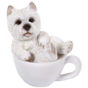 Westie Mini Teacup Pups Dog Statue Majestic Dragonfly Home Decor, Artwork, Unique Decorations