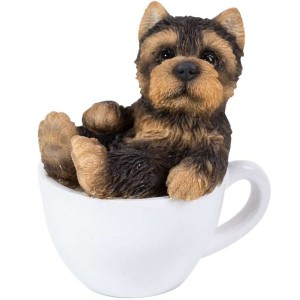 Yorkie Mini Teacup Pups Dog Statue Majestic Dragonfly Home Decor, Artwork, Unique Decorations