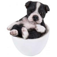 Boston Terrier Mini Teacup Pups Dog Statue