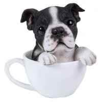 Boston Terrier Teacup Pups Dog Statue