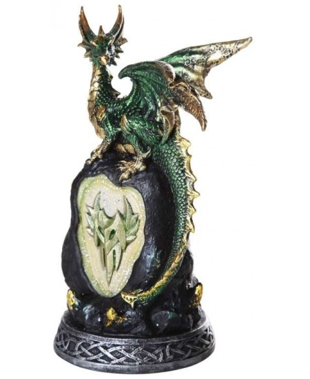 Green Dragon on Rock LED Night Light at Majestic Dragonfly, Home Decor, Artwork, Unique Decorations