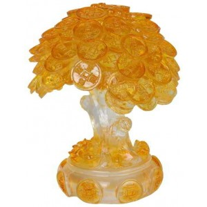 Money Tree Auspicious Feng Shui Amber Statue Majestic Dragonfly Home Decor, Artwork, Unique Decorations