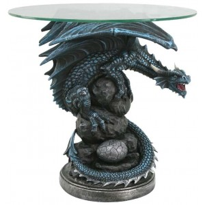 Mother Dragon Glass Top Accent Table Majestic Dragonfly Home Decor, Artwork, Unique Decorations