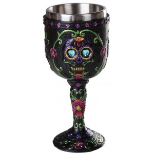 Day of the Dead Sugar Skull Goblet Majestic Dragonfly Home Decor, Artwork, Unique Decorations