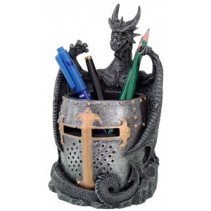 Dragon Armor Utility Holder Pen Cup Majestic Dragonfly Home Decor, Artwork, Unique Decorations