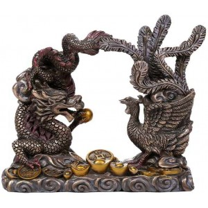 Oriental Dragon and Phoenix Feng Shui Statue Majestic Dragonfly Home Decor, Artwork, Unique Decorations