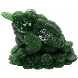 Lucky Frog Jade Green Feng Shui Money Statue Majestic Dragonfly Home Decor, Artwork, Unique Decorations