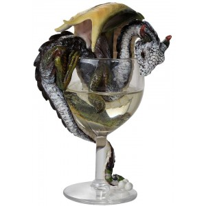 White Wine Dragon Statue Majestic Dragonfly Home Decor, Artwork, Unique Decorations