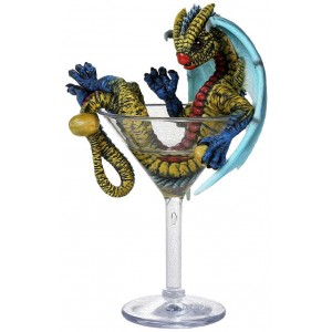 Martini Dragon Statue Majestic Dragonfly Home Decor, Artwork, Unique Decorations