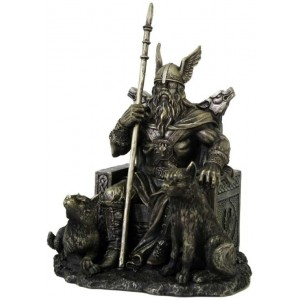 Odin the All-Father Norse God with Wolves Statue Majestic Dragonfly Home Decor, Artwork, Unique Decorations
