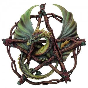 Forest Pentagram Dragon Plaque Majestic Dragonfly Home Decor, Artwork, Unique Decorations