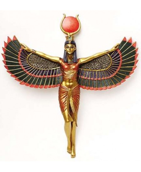 Winged Isis Egyptian Goddess Plaque at Majestic Dragonfly, Home Decor, Artwork, Unique Decorations