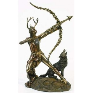 Diana Artemis Greek Goddess of the Hunt Statue with Wolf Majestic Dragonfly Home Decor, Artwork, Unique Decorations