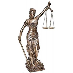 Lady Justice 18 Inch Statue in Bronze Resin Majestic Dragonfly Home Decor, Artwork, Unique Decorations