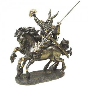 Odin on Horseback Norse God Bronze Statue Majestic Dragonfly Home Decor, Artwork, Unique Decorations
