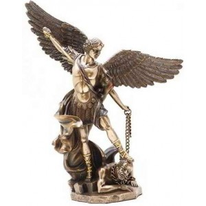 Archangel St Michael 10 Inch Bronze and Gold Statue Majestic Dragonfly Home Decor, Artwork, Unique Decorations