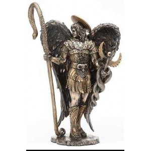 Archangel Raphael Healing Bronze Resin Statue Majestic Dragonfly Home Decor, Artwork, Unique Decorations