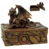 Steampunk Winged Dragon Trinket Box