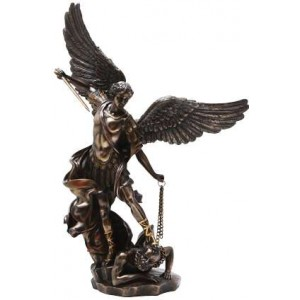 Archangel St Michael Slaying Evil 15 Inch Bronze Statue Majestic Dragonfly Home Decor, Artwork, Unique Decorations