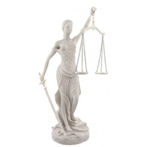 Lady Justice White Marble 10 Inch Statue Majestic Dragonfly Home Decor, Artwork, Unique Decorations