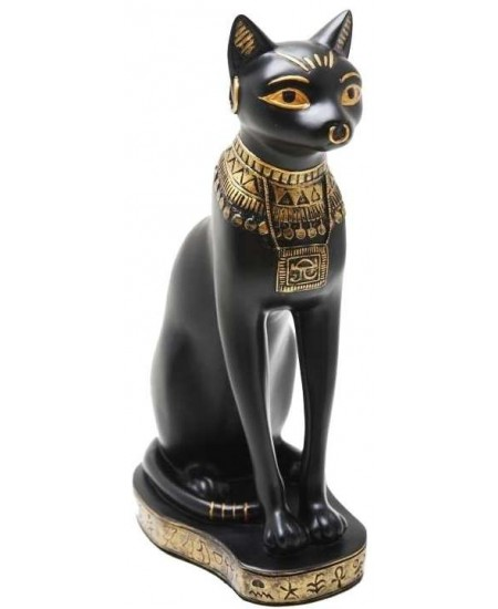 Bastet Black Cat with Gold Necklace Egyptian Statue at Majestic Dragonfly, Home Decor, Artwork, Unique Decorations
