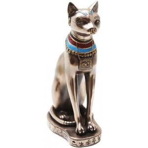 Bastet Bronze Cat Statue with Collar Majestic Dragonfly Home Decor, Artwork, Unique Decorations