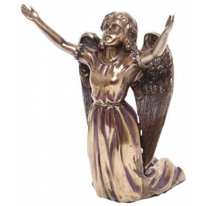 Praising Angel Bronze Resin Statue Majestic Dragonfly Home Decor, Artwork, Unique Decorations