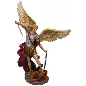 Archangel St Michael Hand Painted Color Christian Statue Majestic Dragonfly Home Decor, Artwork, Unique Decorations