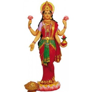 Lakshmi Hindu Goddess of Luck and Wealth Full Color Statue Majestic Dragonfly Home Decor, Artwork, Unique Decorations