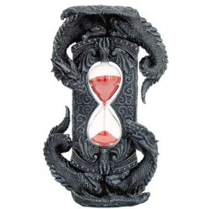 Double Dragon Gothic Sand Timer Majestic Dragonfly Home Decor, Artwork, Unique Decorations