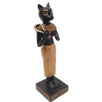 Bastet with Sistrum Mini Egyptian Statue Black and Gold