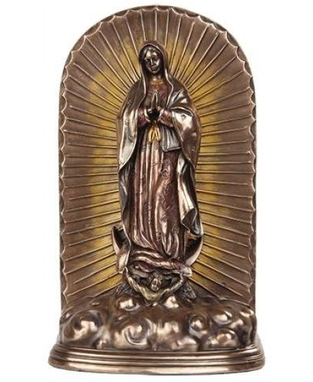 Our Lady of Guadalupe Bronze Memorial Urn at Majestic Dragonfly, Home Decor, Artwork, Unique Decorations