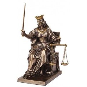 Lady Justice Seated with Scales Bronze Statue Majestic Dragonfly Home Decor, Artwork, Unique Decorations